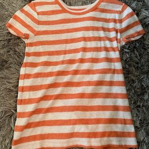 Madewell Orange and White Stripped Top